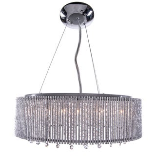 10 Light Shaded Chrome Crystal Pendant Chandelier with Clear European Crystals