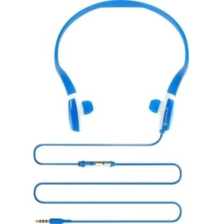 GOgroove CFT Blue Sports Neckband Headphones with Flexible Design and In-Line Microphone for Gym & Training