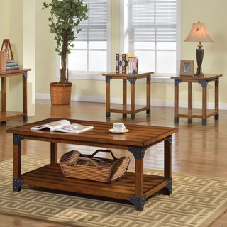 Furniture of America Cini Industrial Oak 3-piece Accent Table Set