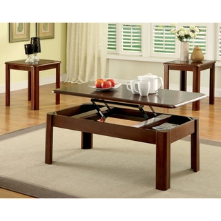 Furniture of America Neila Cherry 3-Piece Accent Table Set