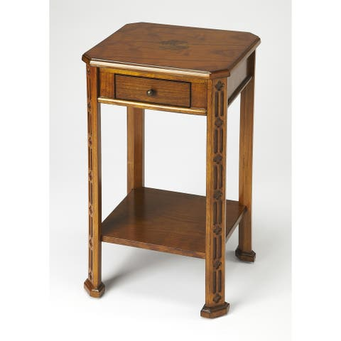 Olive Ash Burl Accent Table with Carved Details