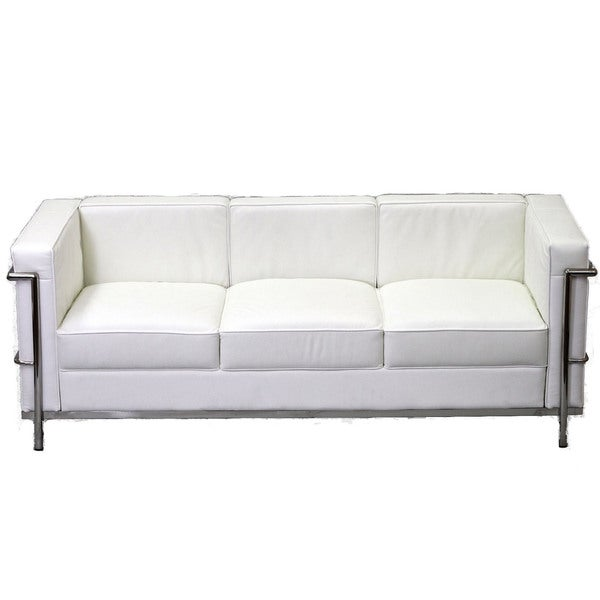 Charles Petite Leather Sofa in White. Opens flyout.