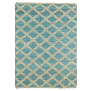 Handmade Natural Fiber Cayon Teal Lattice Rug (8' x 11')