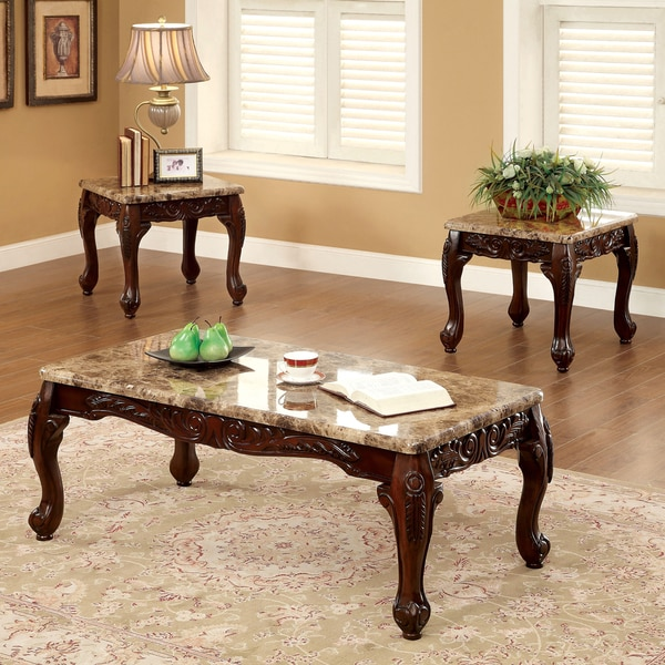 Furniture Of America Traditional Carnes 3 Piece Accent Table Set