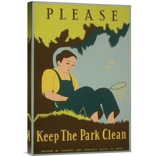 Global Gallery Stanley Thomas Clough 'Please Keep the Park Clean, 1938' Stretched Canvas Art
