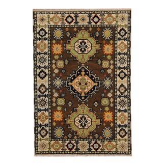Herat Oriental Indo Hand-knotted Tribal Kazak Brown/ Navy Wool Rug (4'2 x 6')