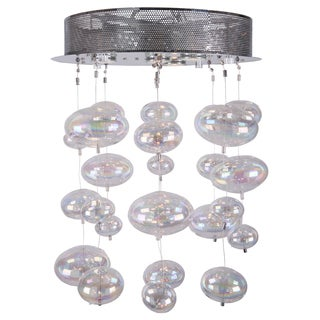 Joshua Marshal 700071-001 4-light Round Flush Mount with Rainbow Clear Glass