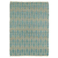 Handmade Natural Fiber Canyon Teal Rug - 8' x 11'