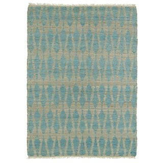 Handmade Natural Fiber Canyon Teal Rug (8' x 11')