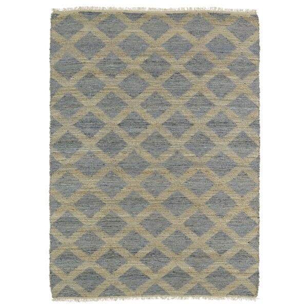 Handmade Natural Fiber Cayon Slate Lattice Rug (7'6 x 9')