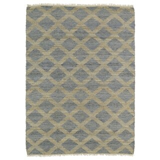 Handmade Natural Fiber Cayon Slate Lattice Rug (8' x 11')