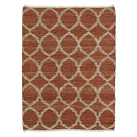 Handmade Natural Fiber Cayon Rust Lattice Rug