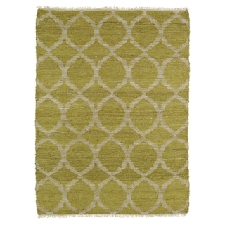 Handmade Natural Fiber Cayon Wasabi Lattice Rug (7'6 x 9')
