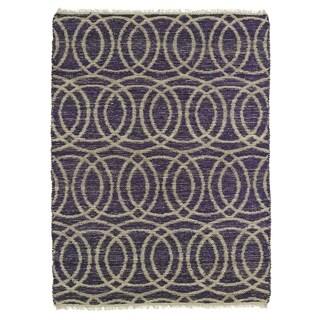 Handmade Natural Fiber Cayon Purple Circles Rug (5' x 7'9)