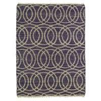 Handmade Natural Fiber Canyon Purple Circles Rug - 8' x 11'