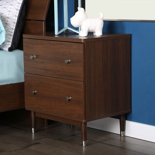 South Shore 'Olly' Mid-Century Modern 2-drawer Brown Walnut Night Stand