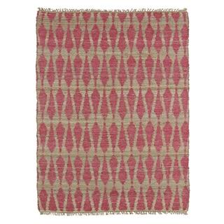 Handmade Natural Fiber Cayon Pink Rug (3'6 x 5'6)