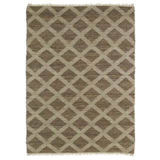 Handmade Natural Fiber Cayon Chocolate Lattice Rug (7'6 x 9')