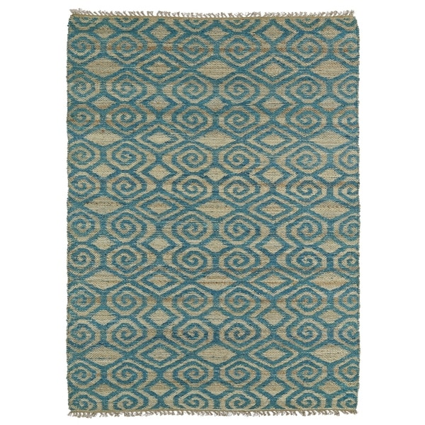 Handmade Natural Fiber Cayon Teal Diamonds Rug - 5' x 7'9