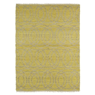 Handmade Natural Fiber Canyon Yellow Circles Rug (8' x 11')