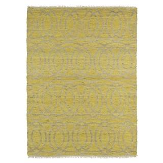 Handmade Natural Fiber Cayon Yellow Circles Rug (5' x 7'9)