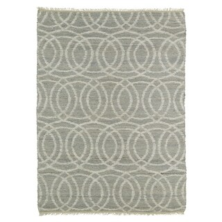 Handmade Natural Fiber Cayon Grey Circles Rug (3'6 x 5'6)