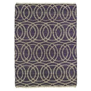 Handmade Natural Fiber Cayon Purple Circles Rug (7'6 x 9')