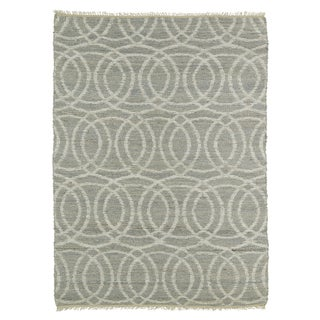 Handmade Natural Fiber Cayon Grey Circles Rug (7'6 x 9')