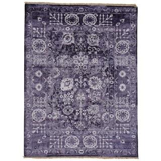 Handmade Wool and Silk Tone on Tone Tabriz Oriental Area Rug (5'1 x 6'9)