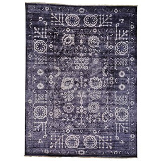 Handmade Oriental Wool and Silk Tabriz Tone on Tone Area Rug (9' x 12')
