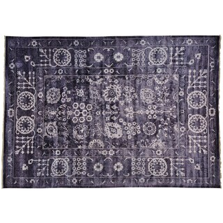 Wool and Silk Purple Tabriz Hand-knotted Oriental Area Rug (10' x 14')
