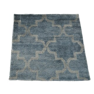 Square Silver Blue Modern Rayon from Bamboo Silk Handmade Oriental Area Rug (2' x 2')