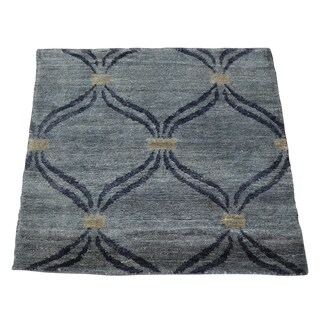 Square Blue Silver Modern Viscose Rayon from Bamboo Handmade Oriental Area Rug (2' x 2')