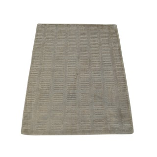 Hand Loomed Viscose Rayon from Bamboo Oriental Beige Modern Area Rug (2' x 3')