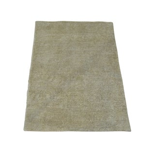 Viscose Rayon from Bamboo Hand-knotted Plain Beige Modern Oriental Area Rug (2' x 2'9)