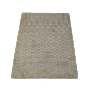 Beige Modern Hand Loomed Viscose Rayon from Bamboo Oriental Area Rug (2' x 3')