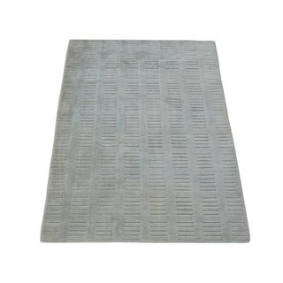 Handmade Rayon from Bamboo Silk Oriental Modern High and Low Area Rug (2' x 3')