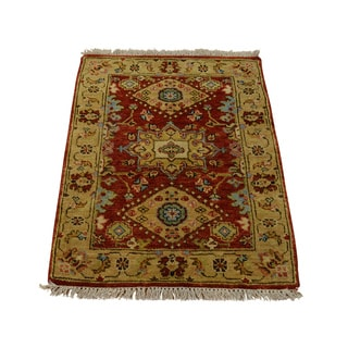 Hand-knotted New Zealand Fine Karajeh Red New Zealand Wool Rug (2' x 3')
