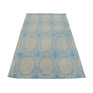 Handmade Reversible Geometric Kilim Blue Wool Rug (3'4 x 5'8)