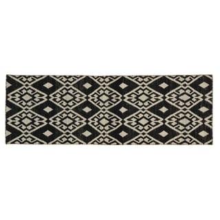 Hand-woven Reversible Geometric Kilim Black Wool Rug (2'7 x 7'10)