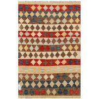 Handmade Herat Oriental Afghan Tribal Wool Kilim  - 3'4 x 4'11 (Afghanistan)