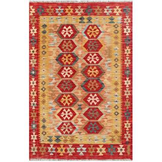 Herat Oriental Afghan Hand-woven Tribal Kilim Red/ Gold Wool Rug (3'3 x 4'10)