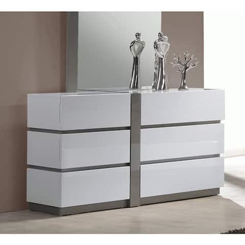 Somette Mehdi Gloss White/ Grey 6-drawer Dresser