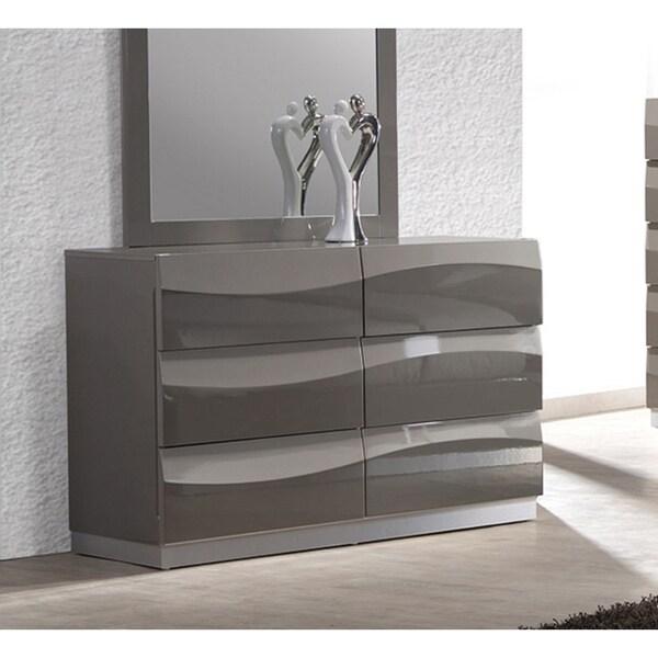 Somette Delvin Gloss Grey 6-drawer Dresser