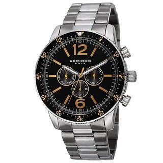 Akribos XXIV Men's Swiss Quartz Multifunction Dual-Time Stainless Steel Silver-Tone Bracelet Watch