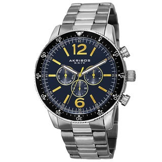 Akribos XXIV Men's Swiss Quartz Multifunction Dual-Time Stainless Steel Blue Bracelet Watch