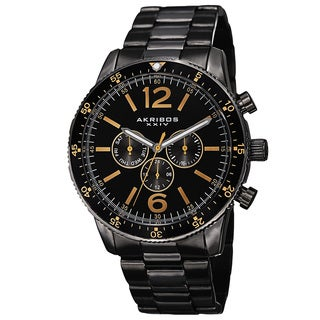 Akribos XXIV Men's Swiss Quartz Multifunction Dual-Time Stainless Steel Black Bracelet Watch with FREE GIFT