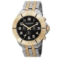 Akribos XXIV Men's Swiss Quartz Multifunction Dual-Time Two-Tone Bracelet Watch