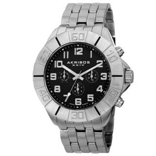 Akribos XXIV Men's Swiss Quartz Multifunction Dual-Time Silver-Tone Bracelet Watch