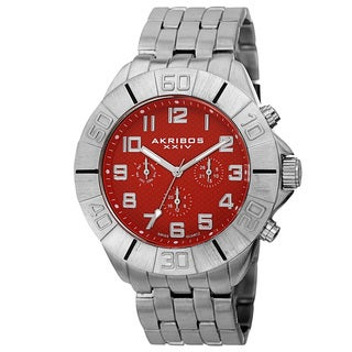 Akribos XXIV Men's Swiss Quartz Multifunction Dual-Time Red Bracelet Watch